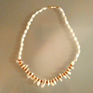 Beach Themed Shell Beaded Necklace - White